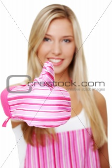 Blond woman wearing kitchen apron