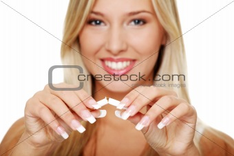 Young woman quitting smoking