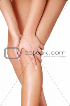 Young woman heaving leg injury