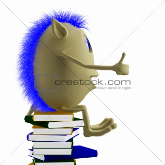 3D puppet sitting on books