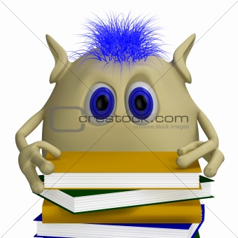 3D puppet hiding behind pile of books