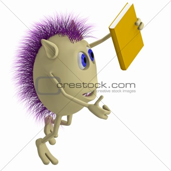 3D puppet with purple hairs holding book