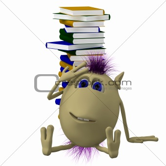 3D puppet sitting before pile of books