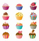 cartoon cake icons set