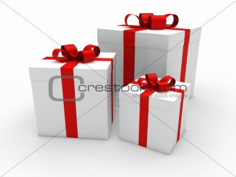 3d gift box red white