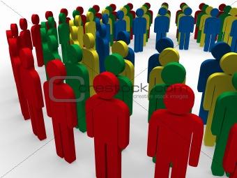 3d teamwork community circle