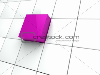 3d cube purple area