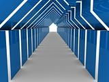3d house tunnel blue