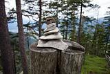 steeple of rocks in a mountain forrest