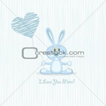 Blue love rabbit (postcard), vector illustration