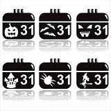 black halloween calendar icons