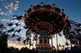 Vintage merry-go-round at the sunset