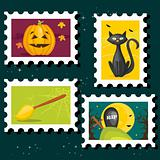 Halloween postal stamps