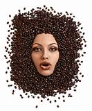 face shot of immersed girl in coffee beans