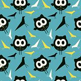 Retro birds and owls background