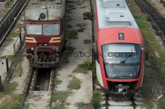 One new and one old train