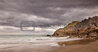 Beach Under a Cloudy Sky