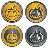 vector set of coins on Halloween