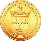 vector gold coin French ecu obverse