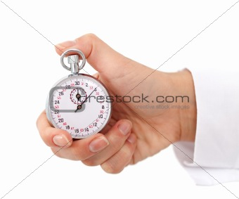 Woman hand with stopwatch