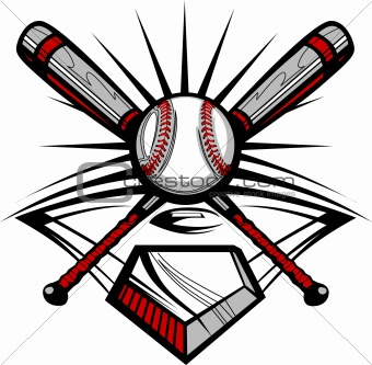 Baseball or Softball Crossed Bats with Ball Vector Image Template