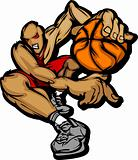 Basketball Player Cartoon Dribbling Basketball Vector Illustration