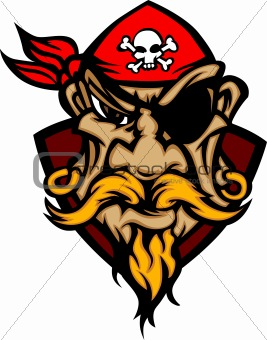 Pirate Mascot with Bandanna Cartoon Vector Image