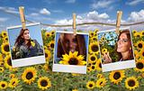 Film Shots Hanging in a Field of a Beautiful Red Head Woman