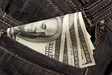 denim jean pocket with money