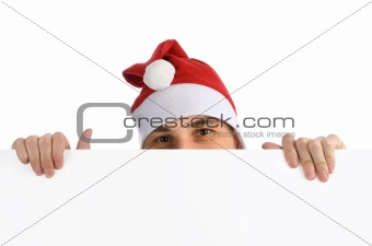 man in a Christmas hat