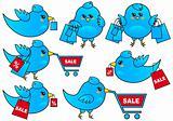 blue bird shopping, vector