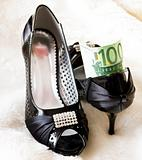 black shoes with money