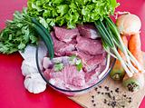 raw beef with vegetables