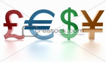 Pound, euro, dollar, yen. Signs. 3d