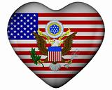 Heart with flag of united states