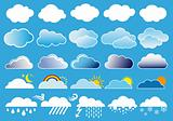 clouds and weather symbols, vector
