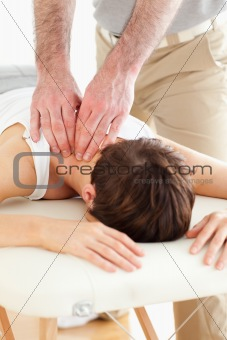 Woman getting a neck-massage