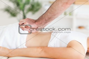 Cute Woman getting a back-massage