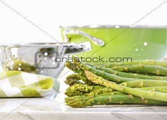 Green asparagus on marble table