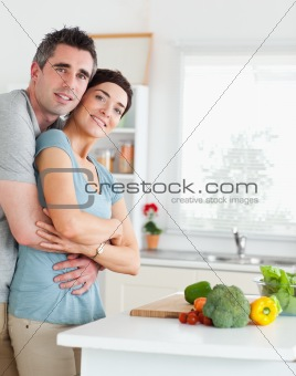 Charming Man and woman hugging