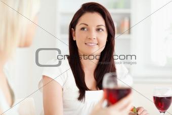 Portrait of smiling Women drinking wine