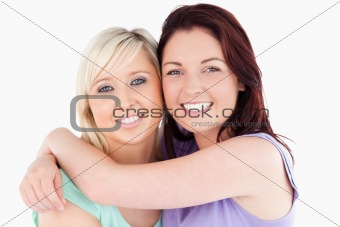 Cheerful Friends hugging