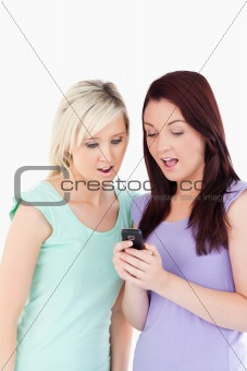 Portrait of young women with a cellphone