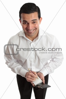 Happy businessman, waiter etc with pen and notepad