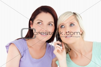 Portrait of charming women on the phone