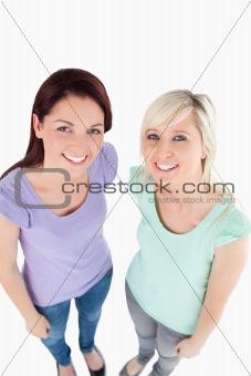 Portrait of cute women posing