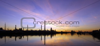 Oil Refinary at sunset