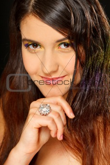 Portrait of lovely girl with ring on hand
