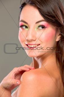 Portrait of brown hair pretty girl looking in corner