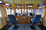 The wheelhouse of a fire boat
